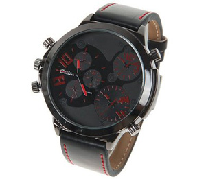 Oulm Analog Brown Hands Markers Black Round Case Men Watch