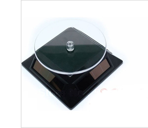 Mini 4 Panels Solar Powered Turn Table Rotary Stand Jewelry Watch Cellphone Display Rotary Stand Black